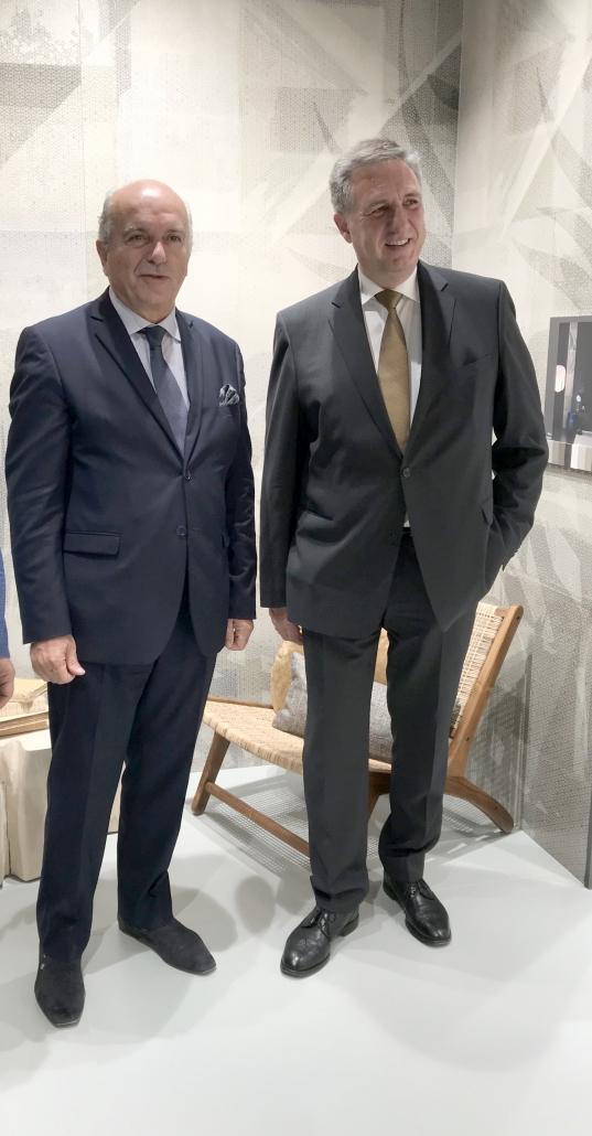 links: Präsident der Confindustria Ceramica) Giovanni Savorani (GIGACER s.p.a.), VDF-Vorstandsvorsitzender Michael Zink (Bayrischer Fliesenhandel GmbH)